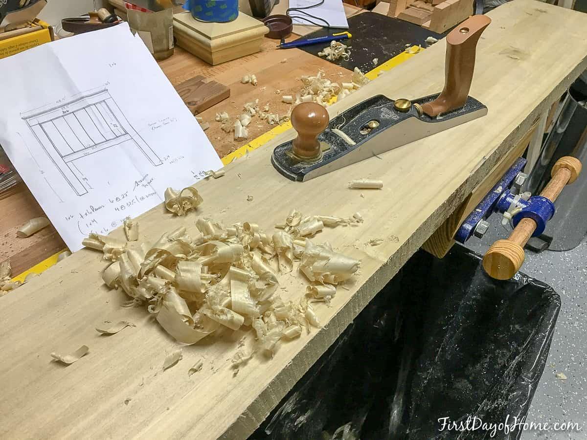Planing farmhouse headboard leg pieces