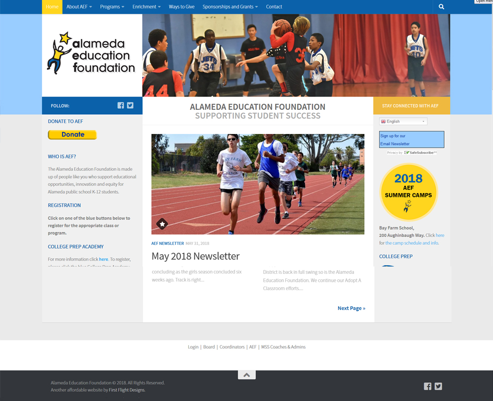 Alameda Education Foundation website