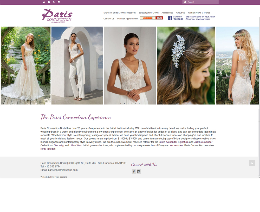 Paris Connection for Bridal website