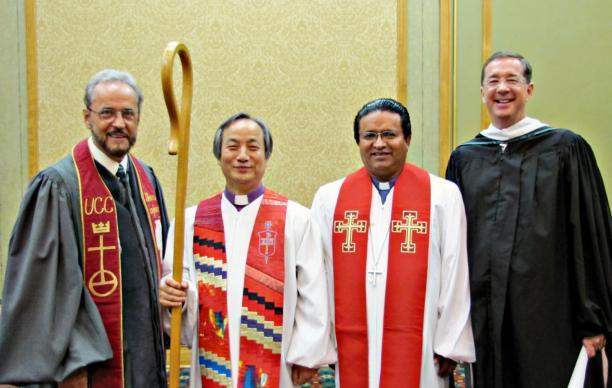 Photo by Anne Marie Gerhardt The Bishop Javier Rojas, a leader of the Evangelical Methodist Church, died March 12. He is pictured with United Methodist officials. (From left) The Rev. Dr. Jorge L. Morales, United Church of Christ; United Methodist Bishop Hee-Soo Jung; Terán and Jim Winkler, former general secretary of the United Methodist Board of Church and Society.