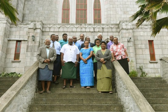 Representatives from the Methodist Church in Fiji, Fiji Locally Managed Marine Areas (FLMMA) and WWF-Pacific after the meeting at the church headquarters. © WWF-Pacific / Tui Marseu