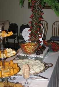 Gourmet Cheeses, Finger Sandwiches, Fruit Fondue