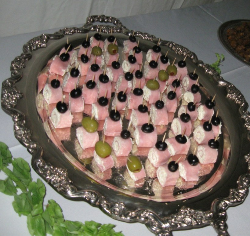 Rolled Ham and Cream Cheese with Olive