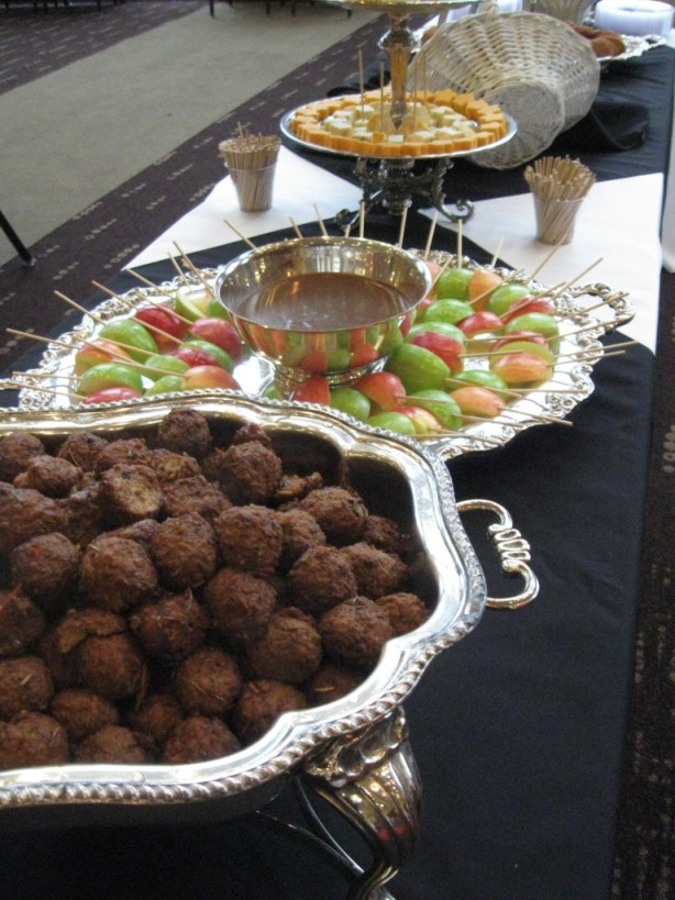Herb Crusted Meatballs , Caramel Apple Fondue, and Gourmet Cheeses Display