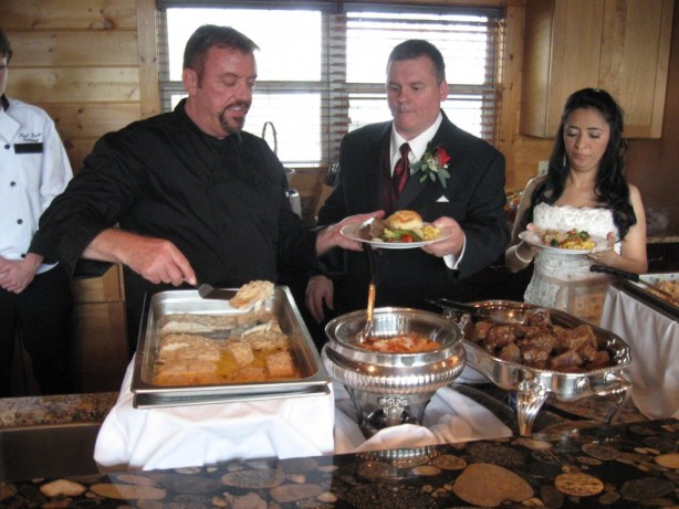 Chef Tony serving the Bridal Couple