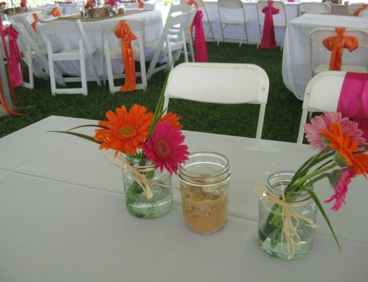 Fresh Mini Gerber Daisey mason jar centerpieces