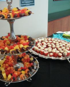 Fruit Skewers and Parmesan Roma Tomatoes