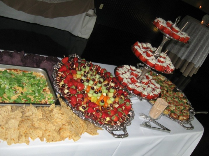 Fruit and Salads Station-Seven Layer Dip, Parmesan Spinach Roma's, Fruit Skewers, BLT Bruschetta