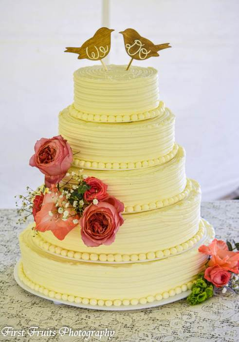 Strawberry/Vanilla Bean Wedding Cake