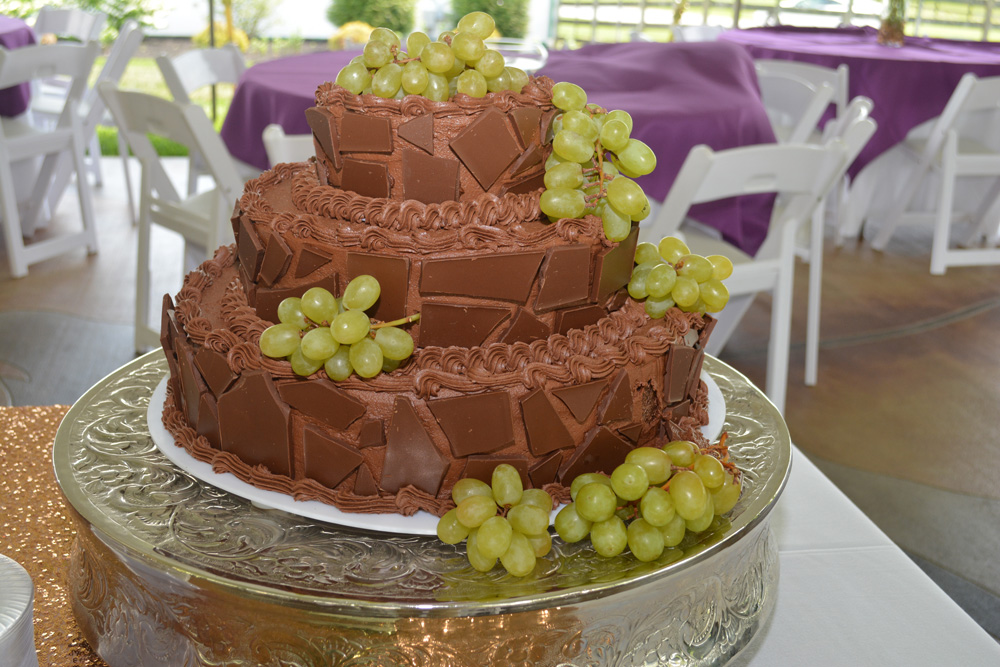 Knoxville, TN Chocolate Grooms Cake Mosaic with White Grapes