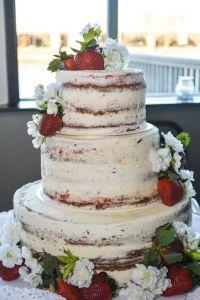 Knoxville Wedding Catering, Naked Wedding Cake, Strawberry Cheesecake Wedding Cake