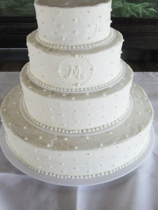 Classic White Buttercream Knoxville, TN Wedding Cake with monogram