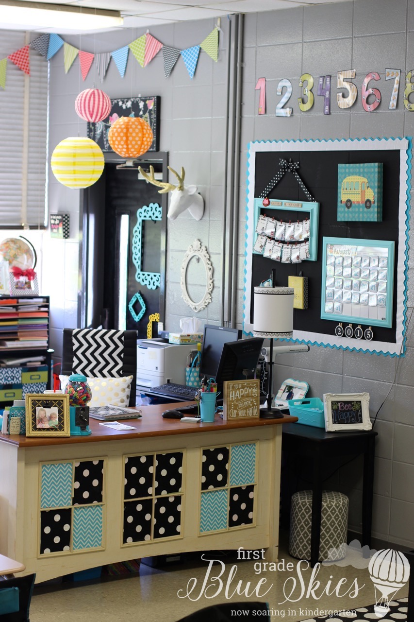 Maths Classroom Decoration Ideas ~ Classroom reveal first grade blue skies