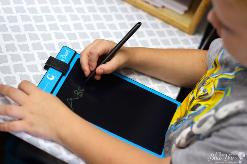 writing station with boogie boards