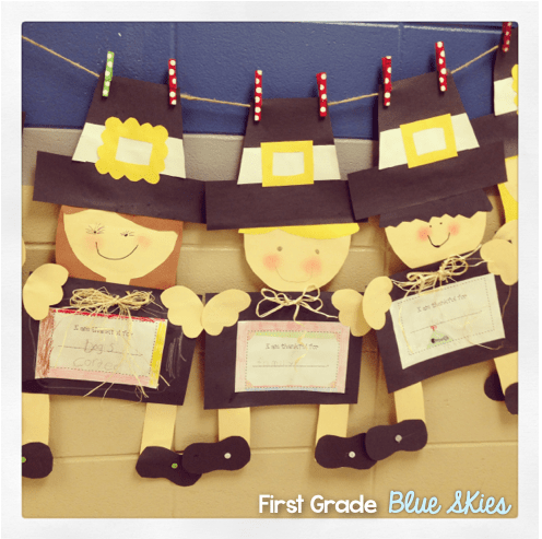 Thanksgiving pilgrim and turkey crafts first grade blue for Turkey crafts for first grade