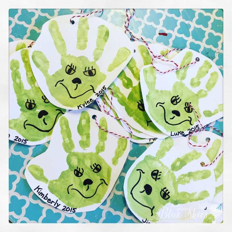 Grinch Handprint Ornaments