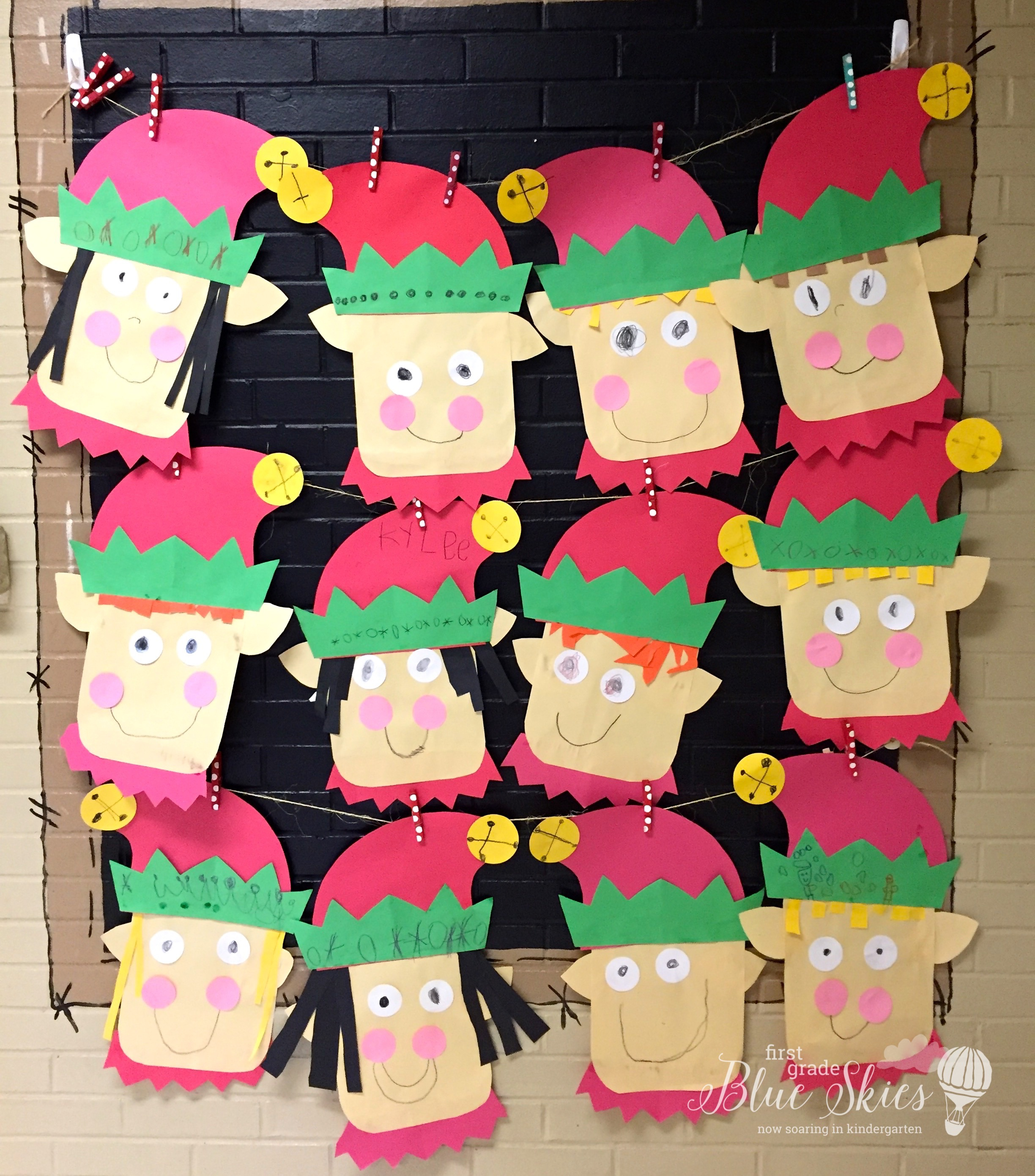 Elf craft for the classroom first grade blue skies for Christmas crafts for kindergarten class
