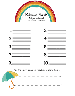 graphic relating to Rainbow Writing Printable identified as Rainbow Text Printable Freebie - To start with Quality Blue Skies