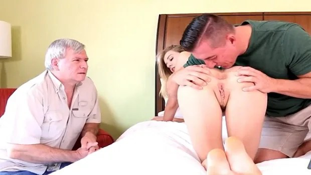 Fucking my sister's ass in front of my father