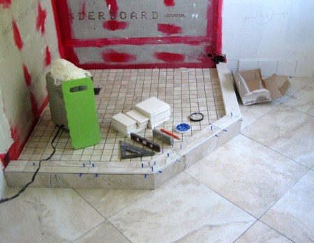 Week 6, shower curb and base tile