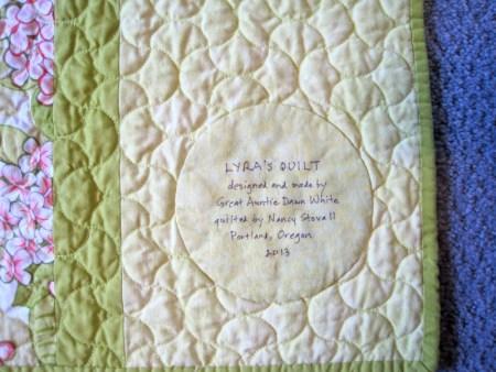 2013-11, Lyra's quilt label 1