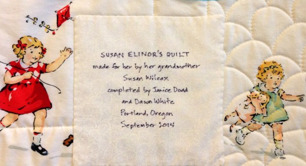 Susan's quilt, label