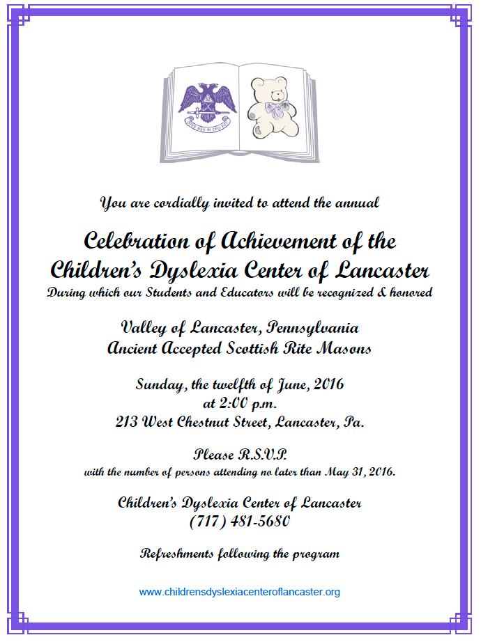 Celebration June 12 Children's Dyslexia Center