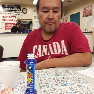 Trying my luck at bingo.