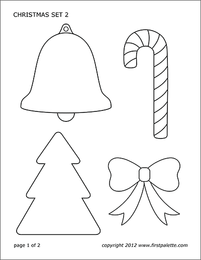 How To Draw Christmas Bell : christmas, Bells, Printable, Templates, Coloring, Pages, FirstPalette.com