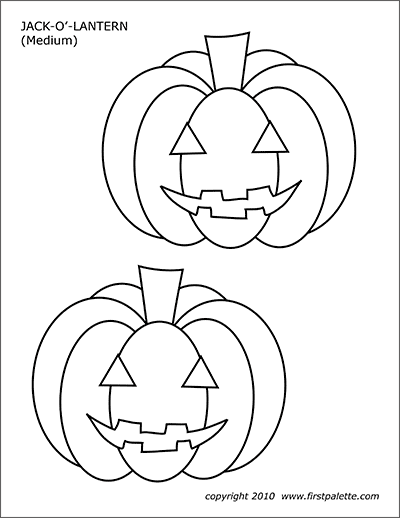 Jack-o-lantern : jack-o-lantern, Jack-O'-Lanterns, Printable, Templates, Coloring, Pages, FirstPalette.com