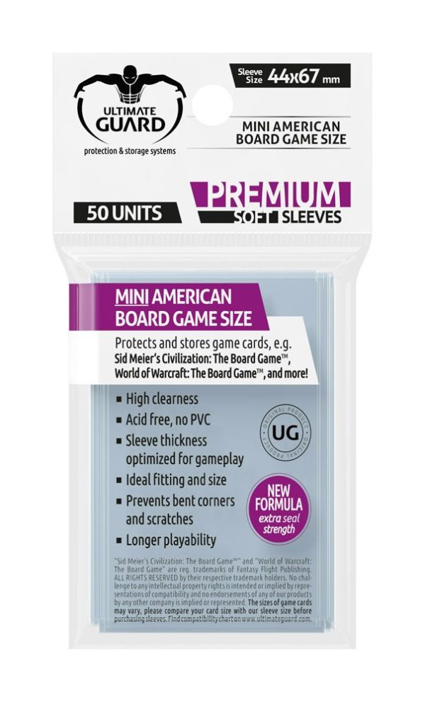 Ultimate Guard Premium Soft Sleeves for Board Game Cards Mini American (50)