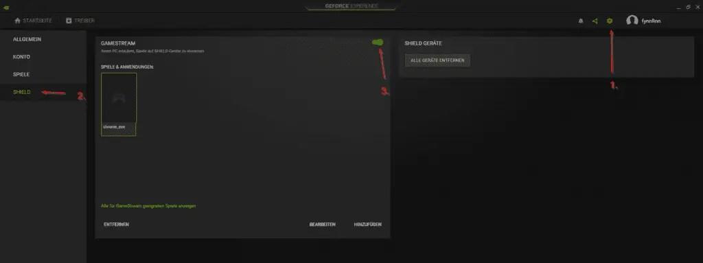 Nvidia GeForce Experience Einstellungen GameStream