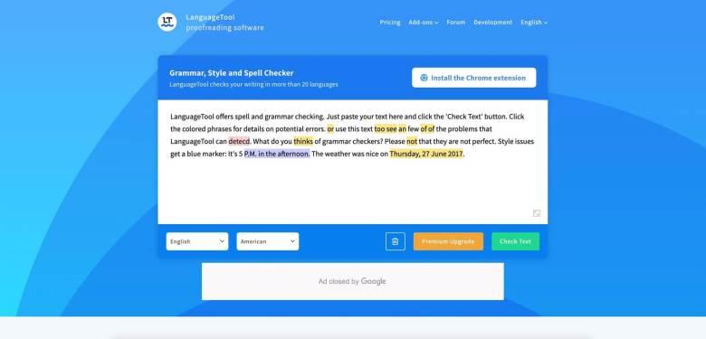 homepage dello strumento di lingua