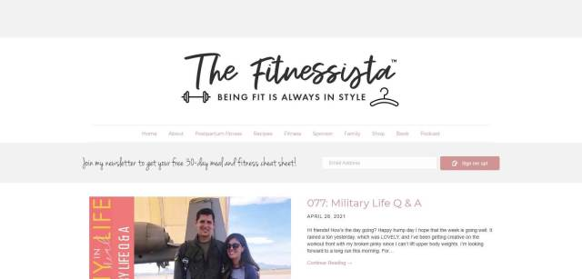 The Fitnessista Homepage