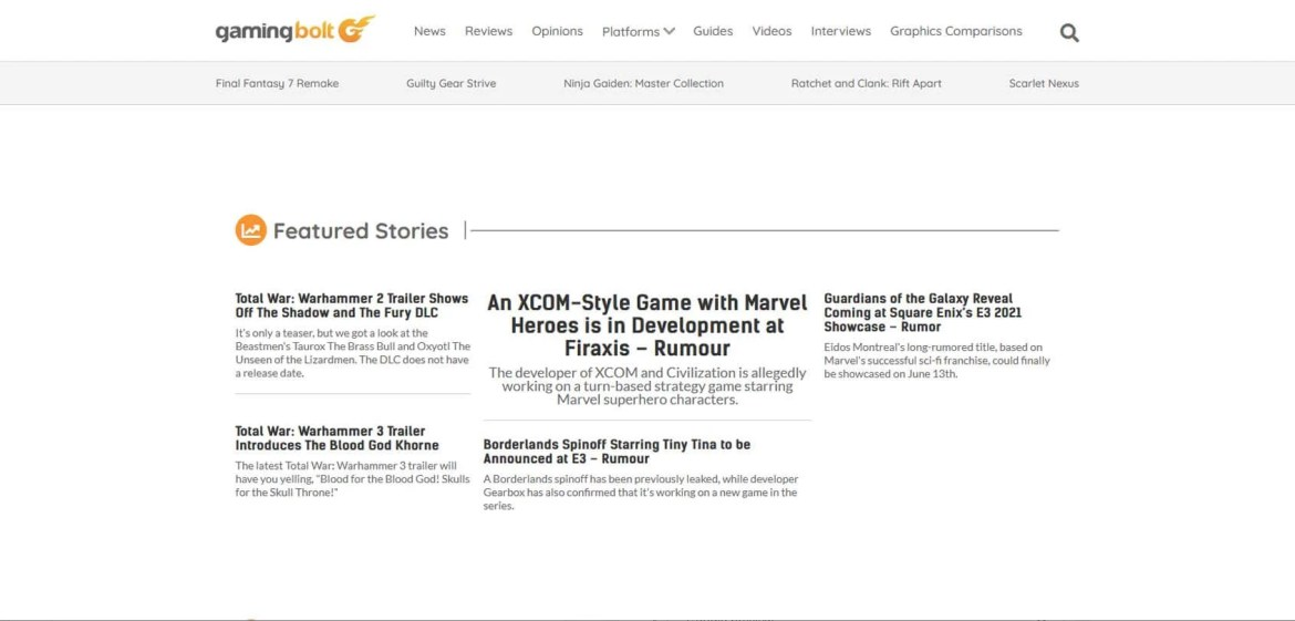 Gaming Bolt Homepage