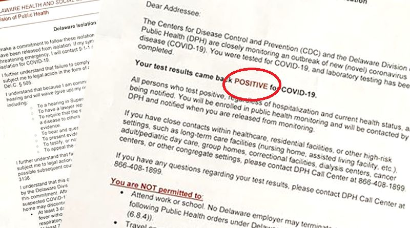 Health Department's Positive COVID-19 Letter Upsetting