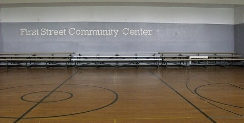 Picture of the gymnasium's bleacher seating