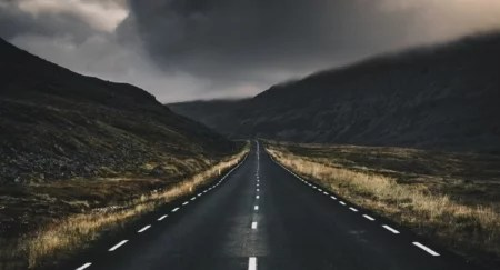 road with storm on horizon