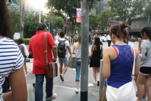 You'll find plenty of pedestrians along the stretch of Orchard Road.