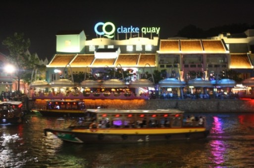 Clarke Quay is one of the many good places to dine in Singapore at night.