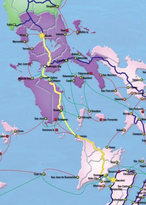 Our route in yellow.