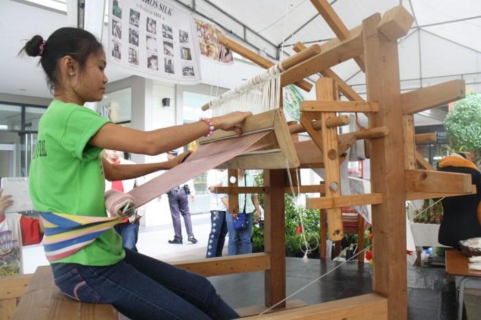 Textile-making demonstration.