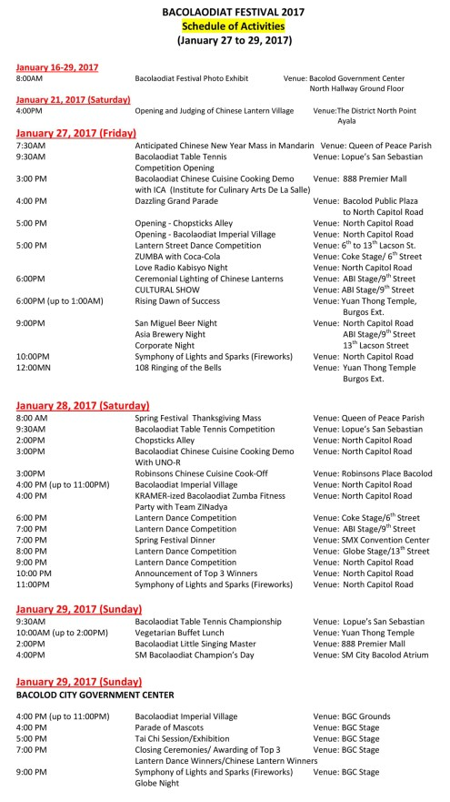 Bacolaodiat 2017 schedule