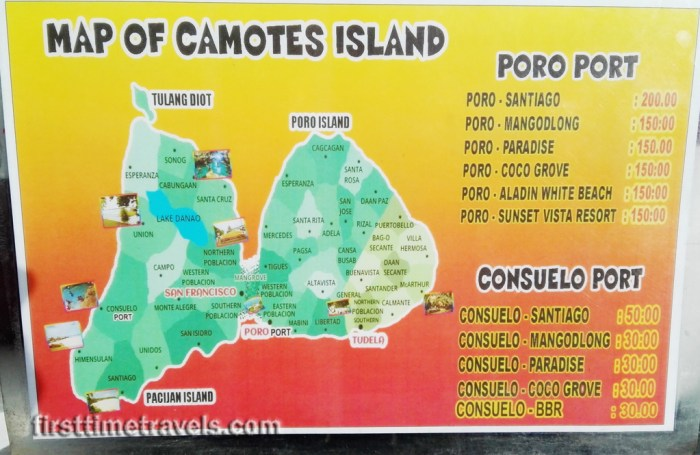 Fare rates in Camotes