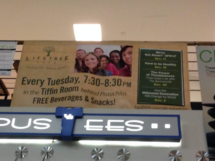 Banner in the UB Student Union