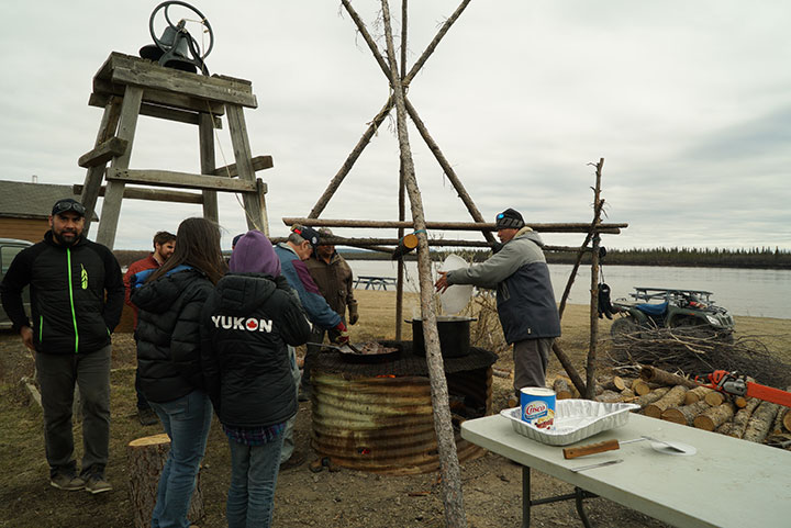 The outdoor grill being prepared for the Caribou Days feast in Old Crow, Yukon. Photo by Suzanne Crocker. From FirstWeEat.ca, the Food Security North of 60 website supporting First We Eat, a documentary by Yukon filmmaker Suzanne Crocker about eating only locally-grown foods in in Dawson City, Yukon, in Canada's North, for one year.