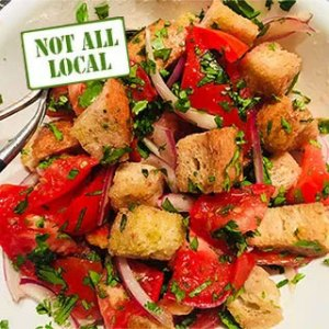Bread and tomato sald. From FirstWeEat.ca, the Food Security North of 60 website supporting First We Eat, a documentary by Yukon filmmaker Suzanne Crocker about eating only locally-grown foods in in Dawson City, Yukon, in Canada's North, for one year.
