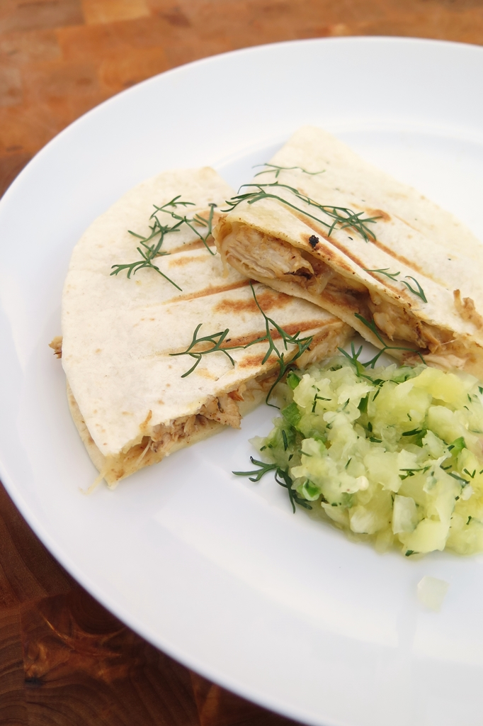 jerk chicken quesadillas and pineapple salsa