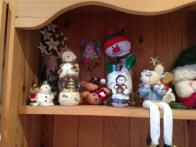 My shelf of decorations (mostly Snowmen!)