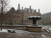 Sheffield town center in snow